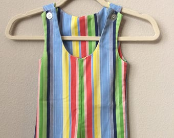 vintage toddler overalls - kids clothes - girls romper - boys romper - stripes - baby clothes - birthday - Easter