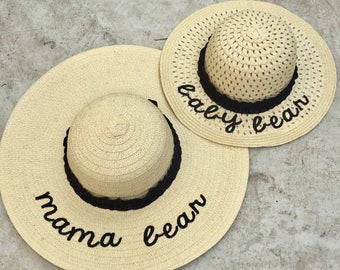 Embroidered Straw Hat Set