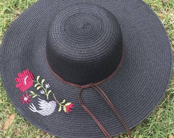 Embroidered Straw Hat with Flowers