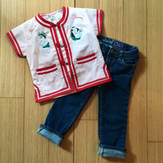 PRECIOUS vintage embroidered souvenir kids shirt - hawaii - vintage childrens top - vintage kids clothes - hand embroidered vintage shirt