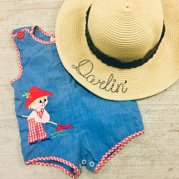 Floppy Hat Embroidered - Girls Straw Hat - Darlin' Sun Hat - Tea Party Hat - Little Girls Summer Hat - Beach Hat  - Floppy Hat