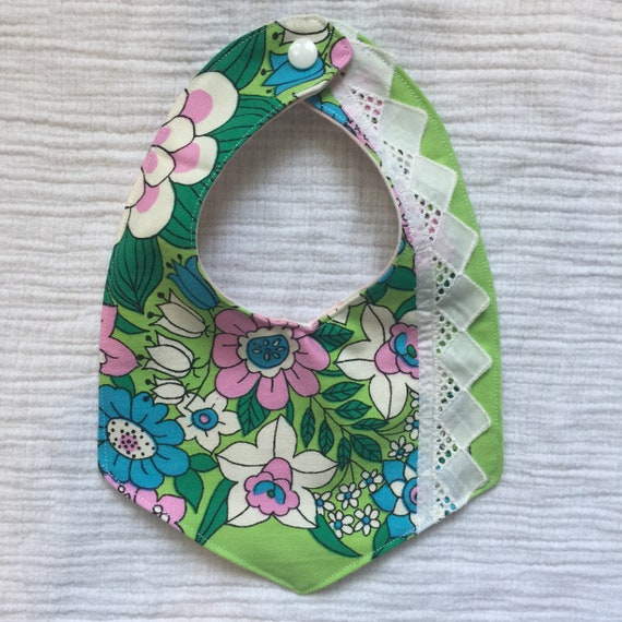 boho baby bib - vintage baby bib - handmade bib - reversible bib - new mom gift - baby shower