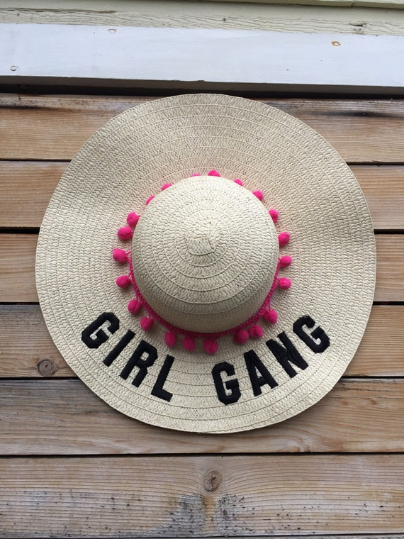 floppy hat embroidered - floppy beach hat - girl gang hat - mom gift - summer hat - hat - beach hat - straw hat - birthday - summer
