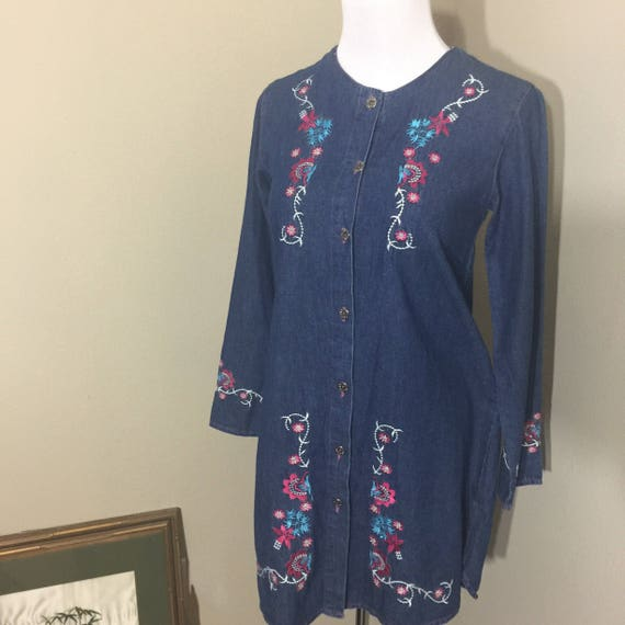 vintage embroidered mini dress