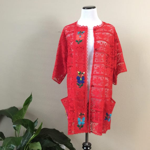 vintage mexican embroidered kimono