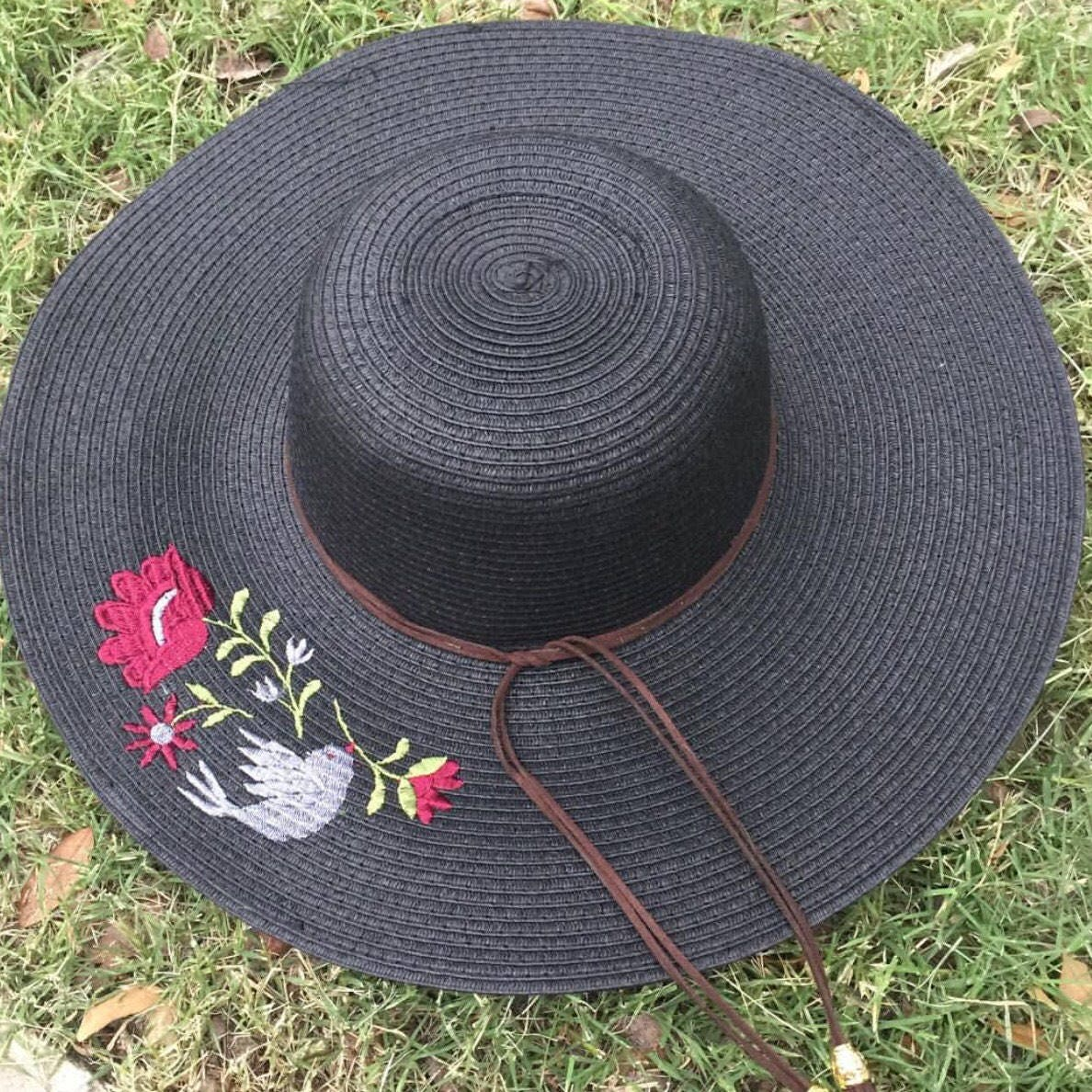 d0343bb3 Embroidered Straw Hat with Flowers