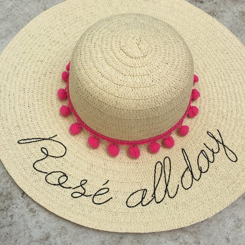 23b12374fde Floppy hat embroidered rose all day straw beach hat gift