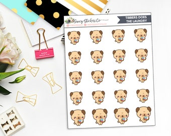 Tibbers Does the Laundry | Pug Laundry Planner Stickers