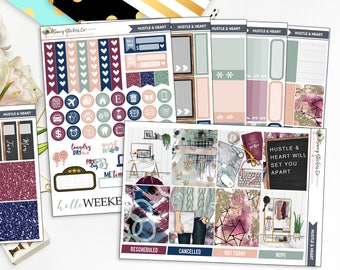 Hustle & Heart | FULL Vertical Weekly Planner Sticker Kit for use with Erin Condren Lifeplanner™, Filofax, Personal, A5, Happy Planner