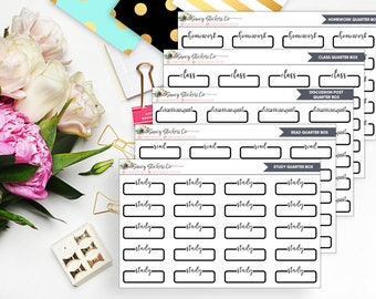 Labeled School/College Quarter Boxes | for use with Erin Condren Lifeplanner™, Filofax, Personal, A5, Happy Planner