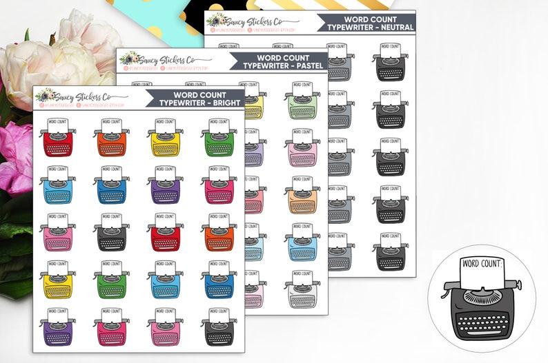 Typewriter Word Count Tracker  Writer Planner Stickers image 0