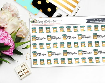 Pill Bottle/Refill Prescription Planner Stickers | for use with Erin Condren Lifeplanner™, Happy Planner