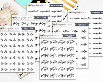 Common Script Words/Phrases Planner Stickers