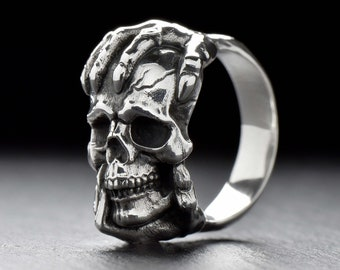 Solid Sterling Silver 925 Ring Elvis Lion Head Skull Band UK