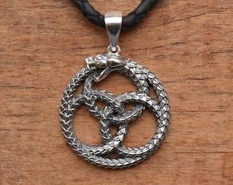 Snake necklace Snake pendant Silver snake  Serpent jewelry Ouroboros necklace  Snake knot necklace