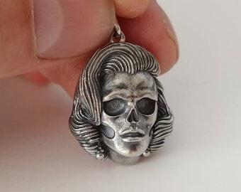 Marilyn Monroe necklace Marilyn Monroe pendant Marilyn Monroe ring Marilyn Monroe charm Silver Skull Horror jewelry