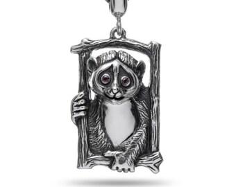 Lemur jewelry Lemur pendant Lemur necklace Animal necklace Silver lemur Head lemur Primate jewelry Lemurs
