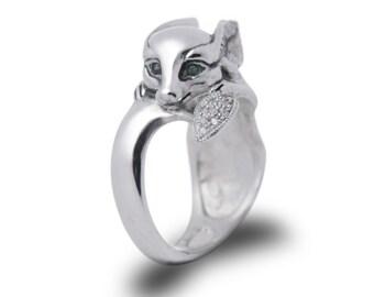 Fox ring Fennec fox jewelry Fox jewelry Fennec fox ring Gift ring Silver fox Animal ring Foxes