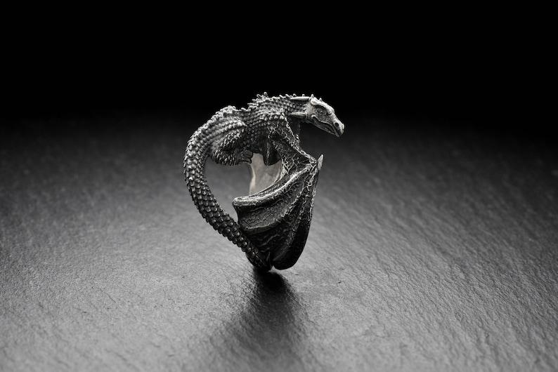 Dragon ring Silver Dragon jewelry Celtic dragon Fantasy Dragon image 0