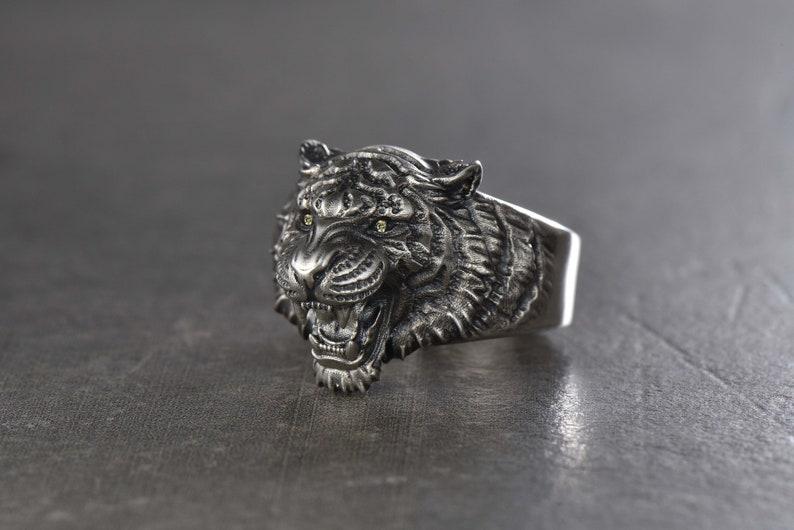 591e3fb80 Tiger ring Tiger necklace Tiger jewelry Silver tiger Tiger | Etsy