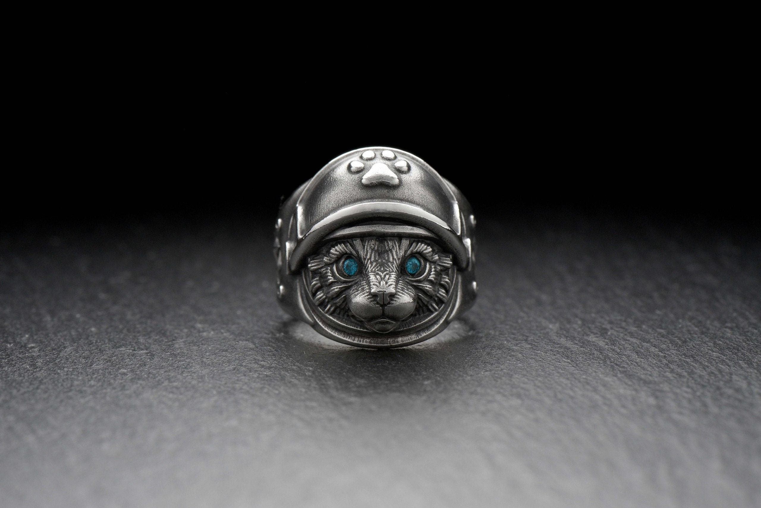 Christmas Adorable Cat Ring Adjustable Gift For Birthday Gifts For Her Cat Lover Silver Cat Ring