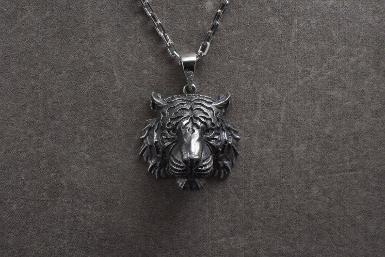 71c4ef01a Tiger necklace Tiger jewelry Silver tiger Tiger pendant Tiger | Etsy