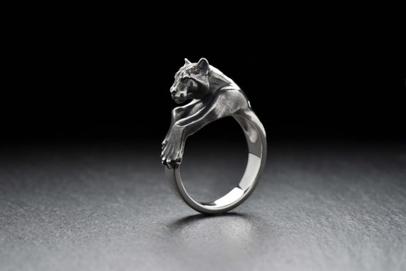Puma ring Cat ring Silver cat Panther ring Puma cat jewelry   Etsy