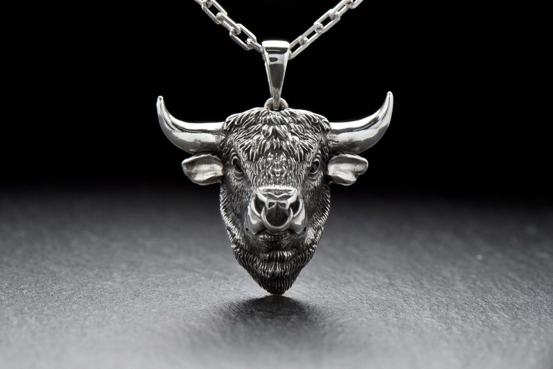 Bull necklace Bull pendant Animal jewelry Silver bull Raging bull Ox necklace Buffalo Bison Calf