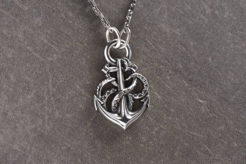 76054b15d471 Anchor necklace Octopus necklace Sailor pendant Anchor jewelry