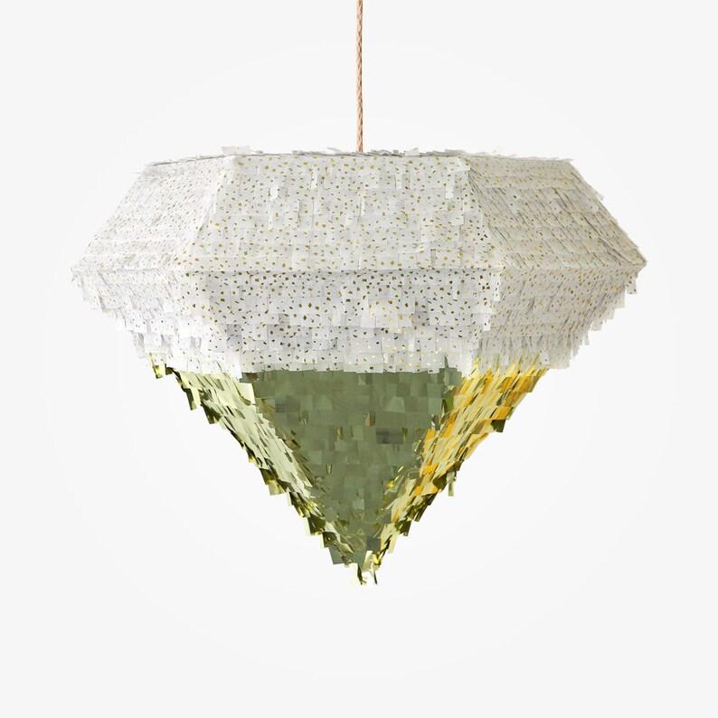 Extra Large Diamond Piñata White/Gold Flake and Metallic Gold image 0