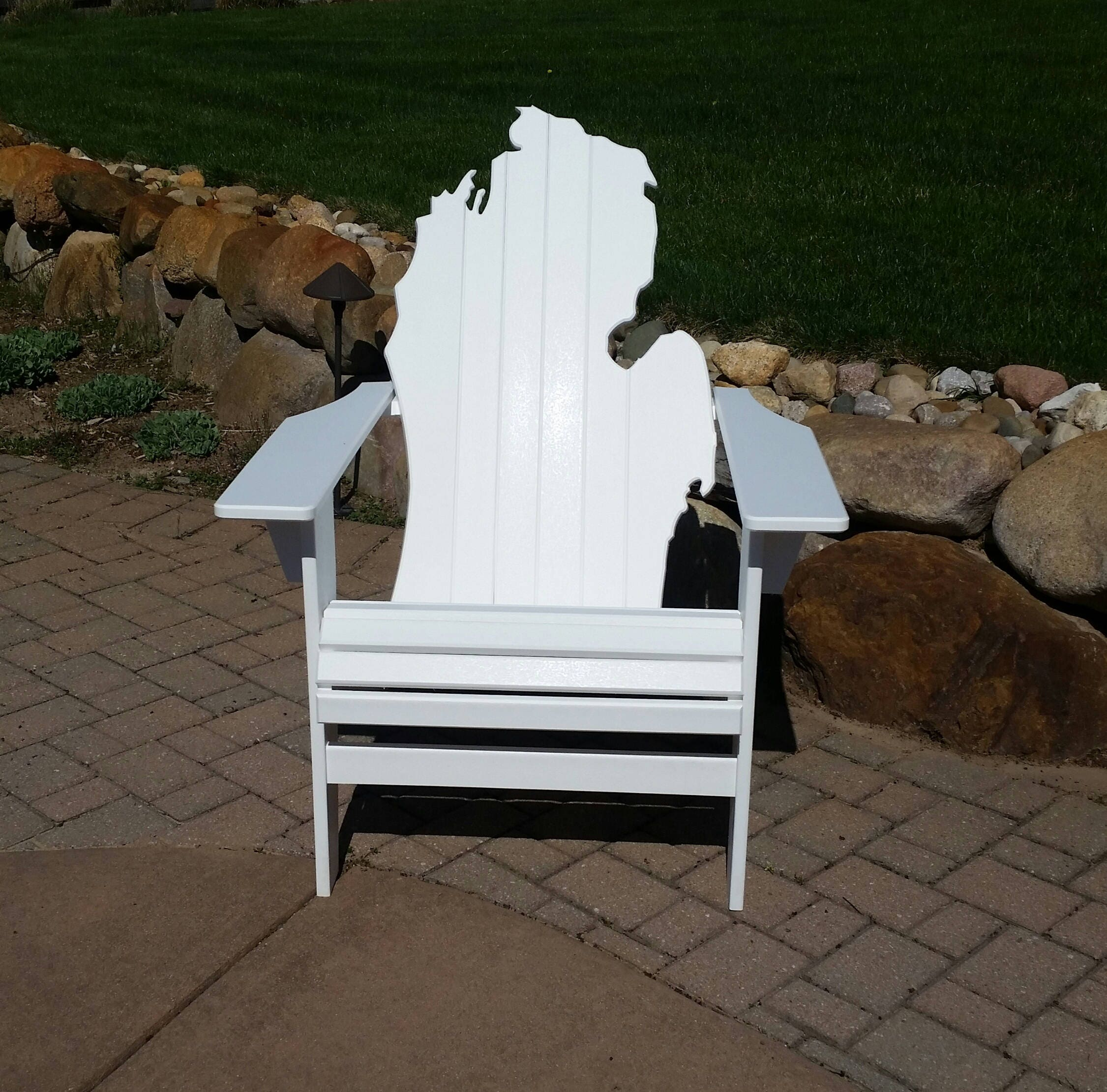 Michigan Adirondack Chair White Poly Lumber Etsy