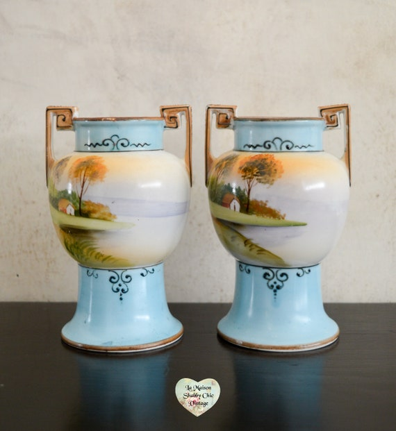 Rare Pair Of Antique Noritake Hand Painted Vases Vintage Etsy