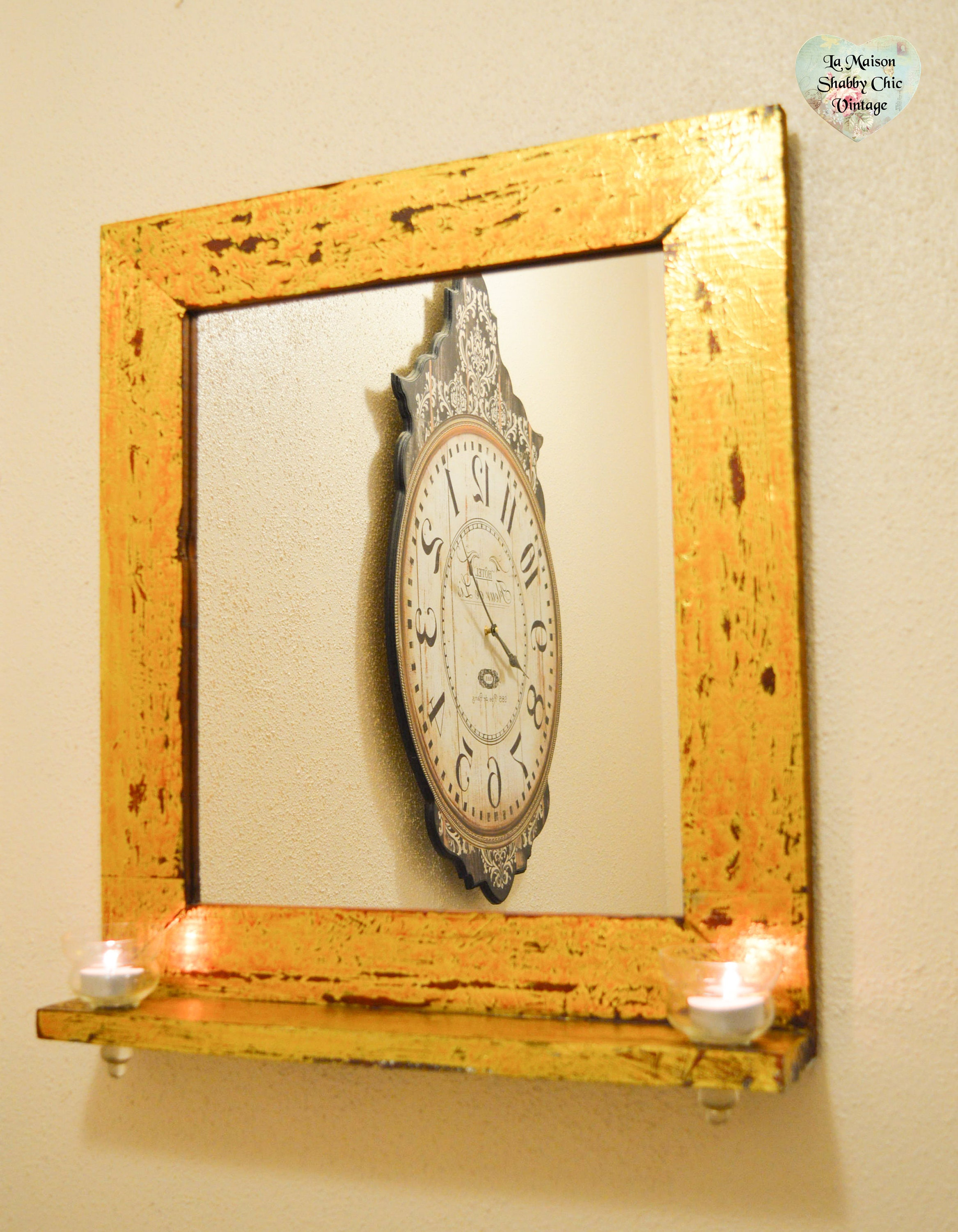 Hand Crafted Gold Leaf Mirror Wooden Frame Distressed With