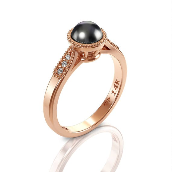 Black Pearl Engagement Ring Pearl Wedding Ring Rose Gold   Etsy