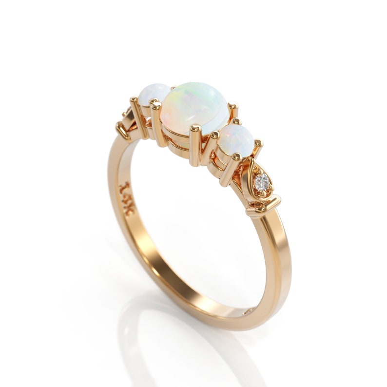 68bee3d4e240a4 Unique Opal Engagement Ring 3 opal ring Promise ring opal   Etsy