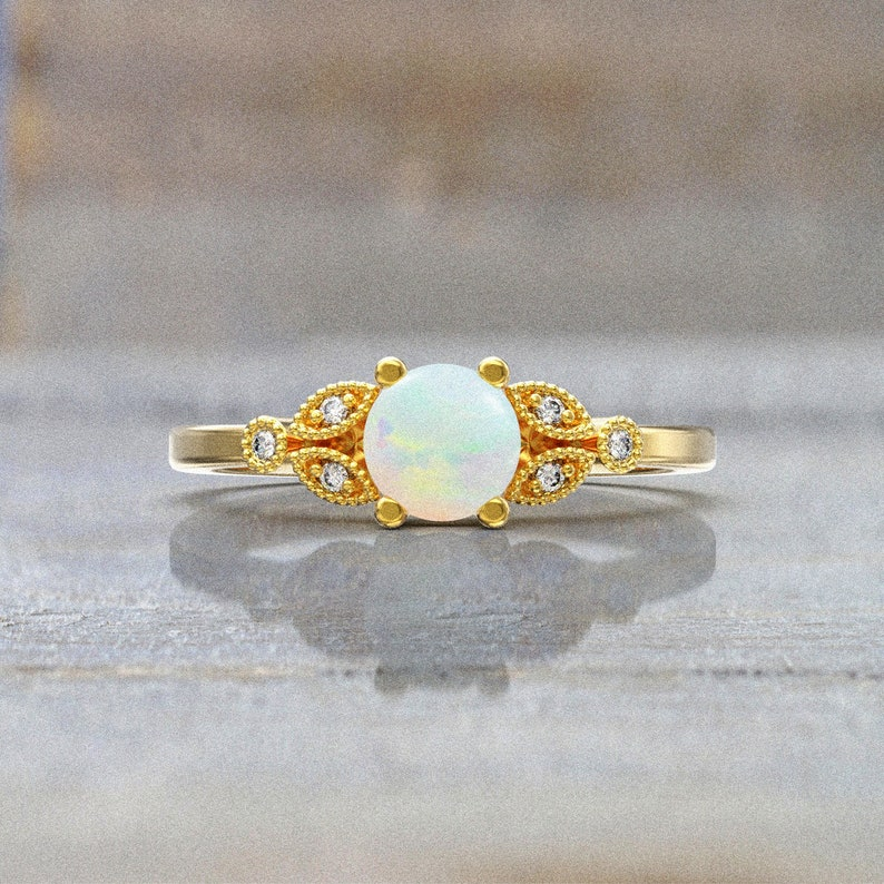 white opal engagement ring 5mm Natural Opal and Diamond Ring 7 stone Ring  14k white gold
