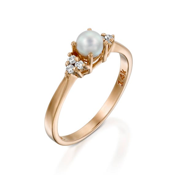 Pearl Engagement Ring 14k Rose Gold Engagement Ring Pearl