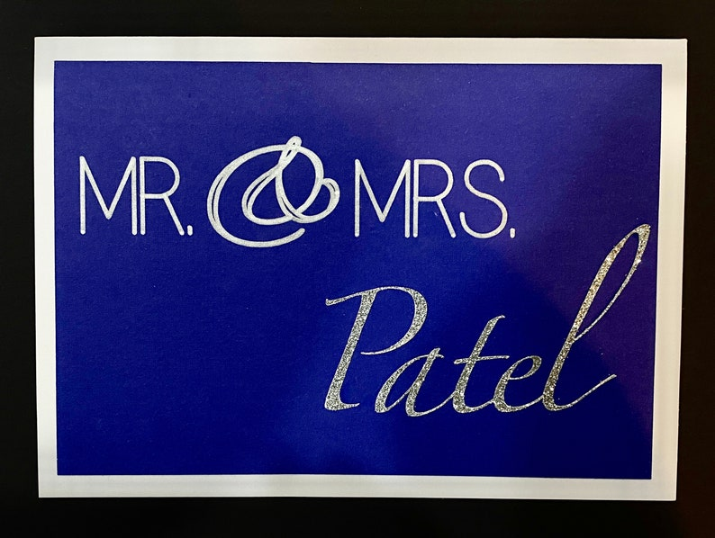 5 x 7 Greeting Card w Envelope Personalized Wedding Card South Asian Indian /& Mrs Mr Desi Weddings and Events