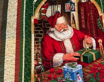 Christmas Quilt, Santa Quilt, Free Shipping