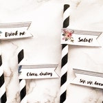 Straw Flags Printable - Stripes and Blooms Theme