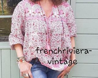 3b0d435d77335 Blouse bohème chic style hippie blouse fleurs blouse gaze de coton indien  blouse pompons chemise bohème chemisier hippie style ethnique rose