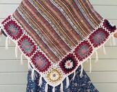 Poncho style boho hippie poncho wool poncho winter poncho tassel