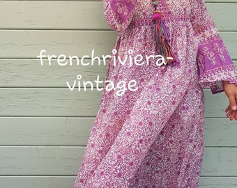 dc55df9345 Boho chic style Hippie dress flowers romantic dress PomPoms dress cotton  gauze Indian dress summer dress women dress Beach dress