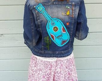 ec76ea712a Jacket jean jacket hand made Mexican woman painting unique art guitar  painting vintage denim jacket