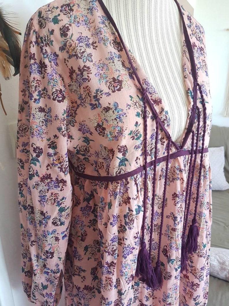 Boho chic style Hippie dress floral flowers romantic dress PomPoms dress Indian cotton gauze dress summer dress women Beach dress flowers