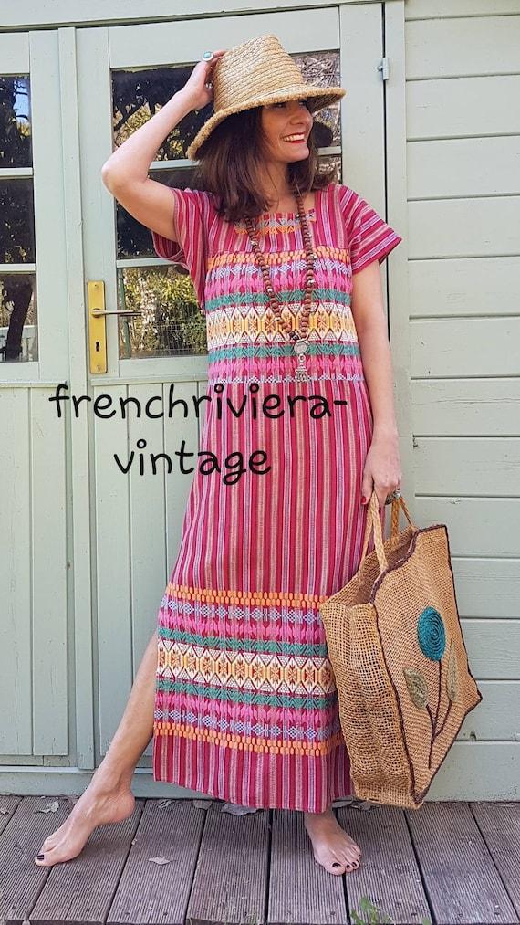 Long boho dress woven boho cotton dress long multi
