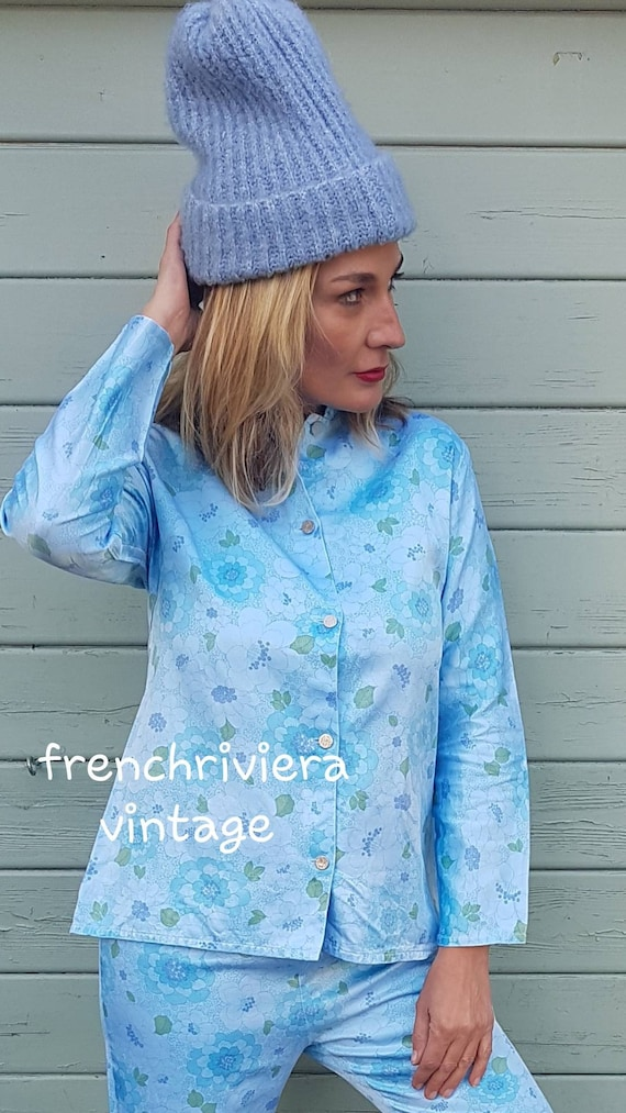 Pyjamas vintage blue pyjamas set vintage pajamas p