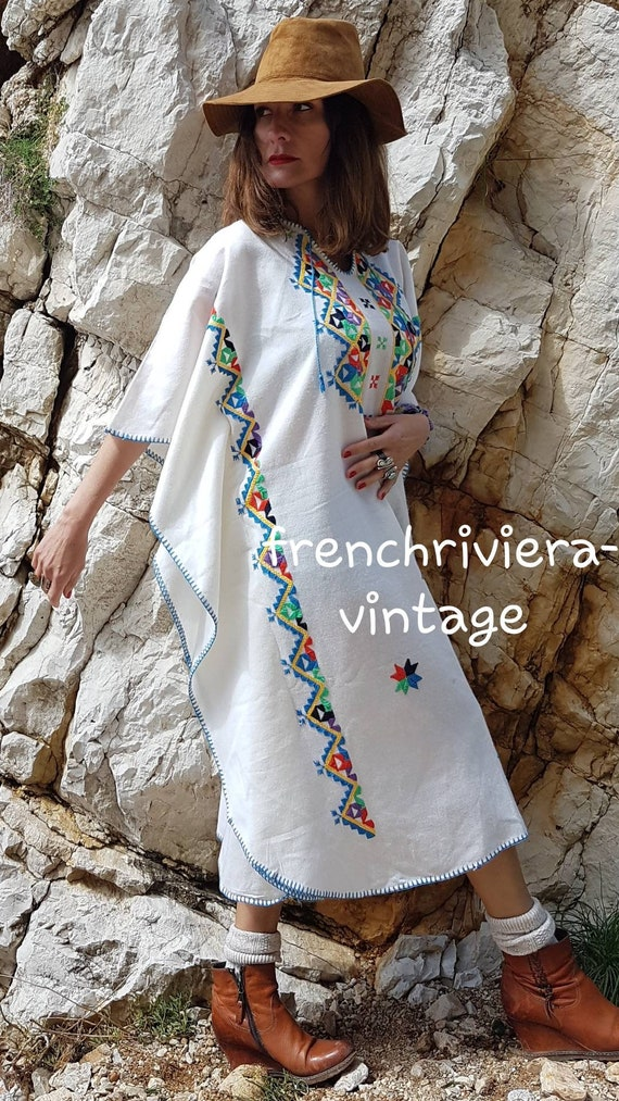 Caftan embroidered boho caftan embroidery of cotto