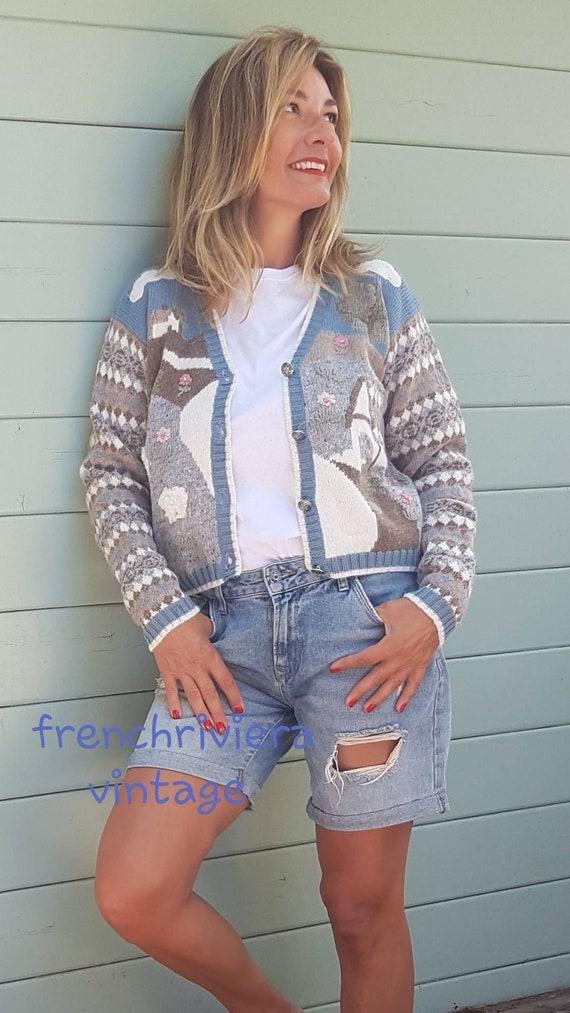 Vintage jacket wool vest flower vest vest short wo