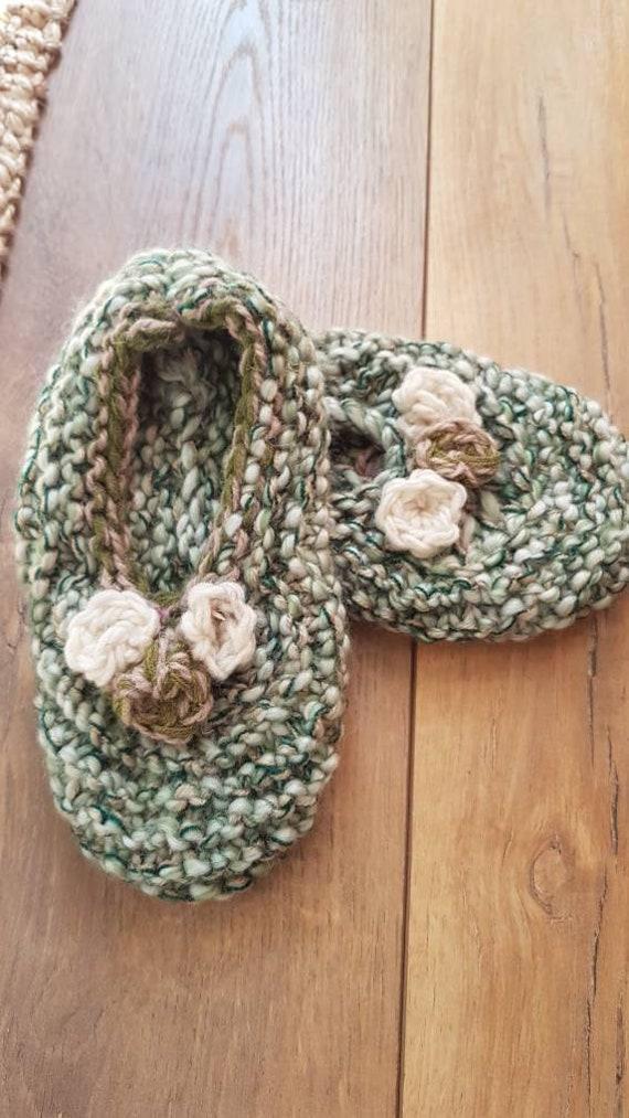 Slippers wool slippers vintage wool slippers hand… - image 1
